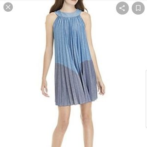 FREE PEOPLE BLUE PLEATED LOVE MINI DRESS SZ.L NWT